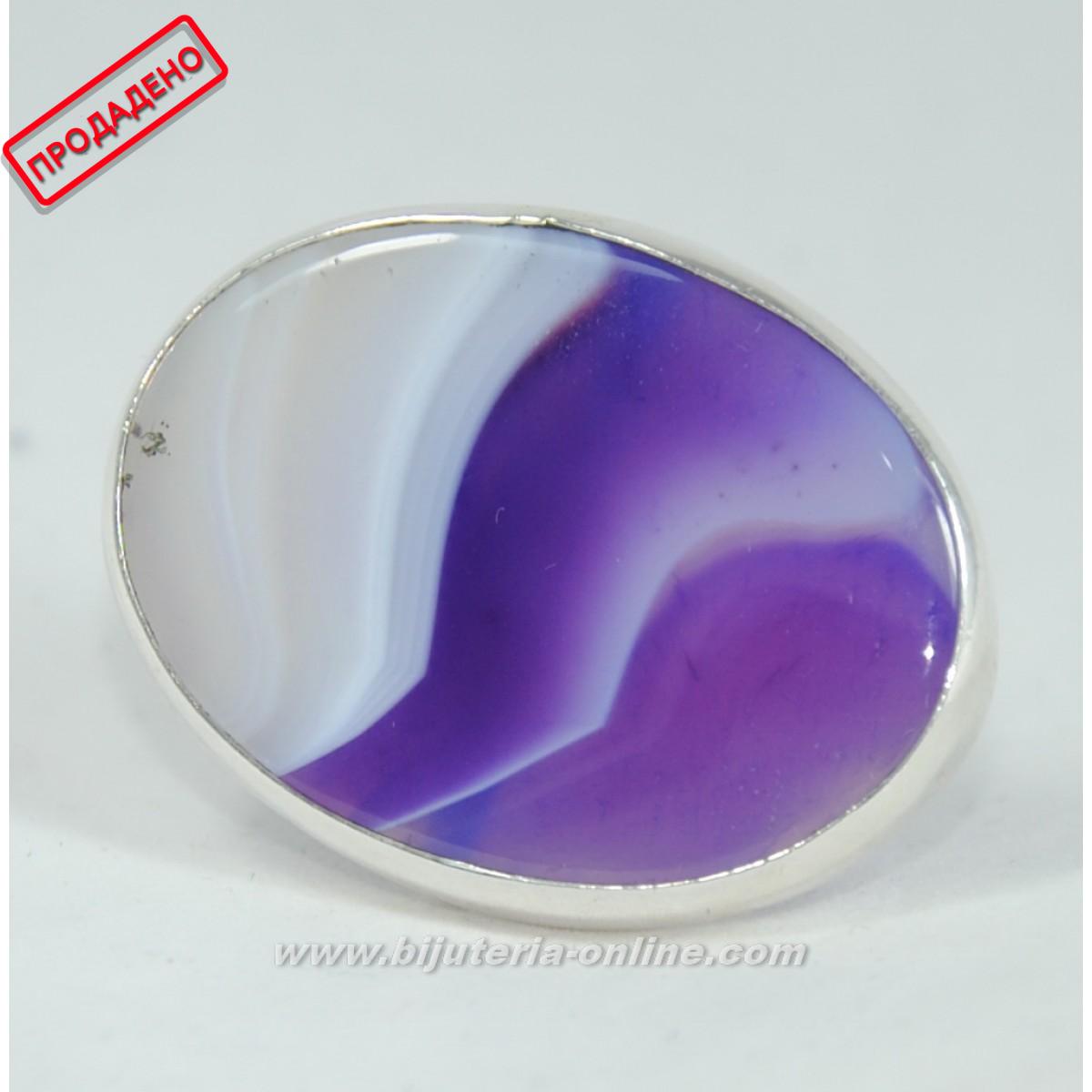 Сребърен пръстен от ахат