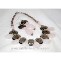 Гердан и обеци от розов кварц и опушен кварц