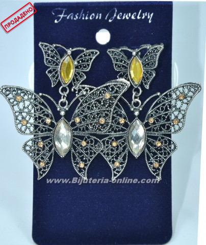 Обици от бижутеиря пеперуда