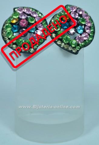 Обици от бижутеиря с кристали (клипс)